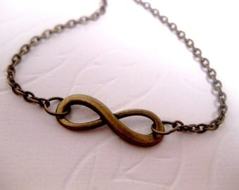 Infinity Necklace - Friendship - Forever - Figure 8 - Love - Brass Infinity - Bronze Infinity -Simple Necklace - Casual