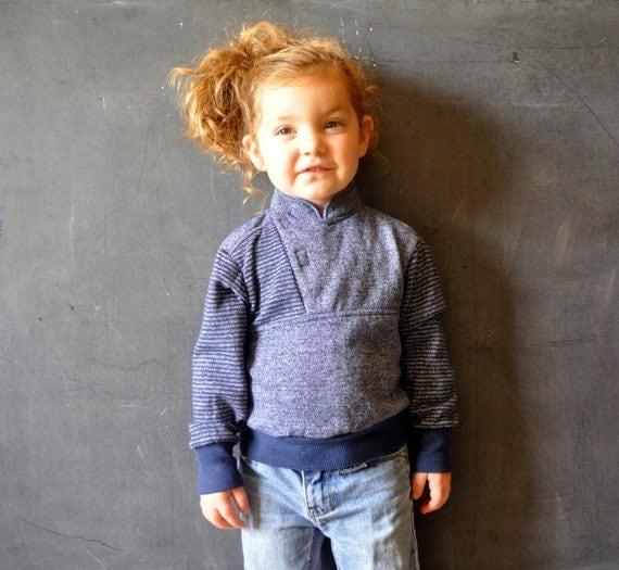 kids 80s wrap front sweatshirt, velcro, high neck, heather gray/blue stripes,size 6