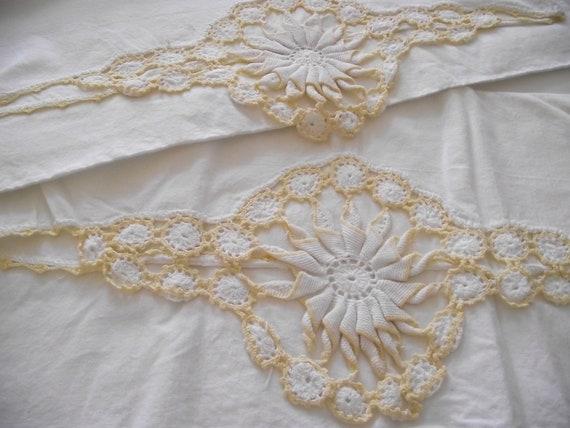Vintage Pillowcases pair set yellow hand crochet fancy trim