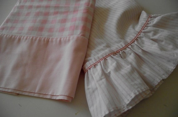 Vintage Pillowcases 2 single cotton  pink gingham & pink striped ruffle