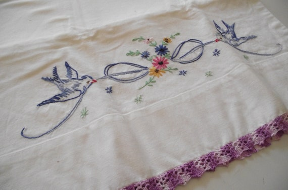 Vintage Pillowcase embroidered Bluebirds purple crochet trim- handmade