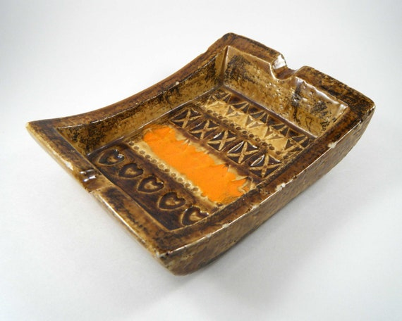 RESERVED for Bonafide, Do No Buy - Vintage Earth Tone Pottery Ashtray / Dish by Bitossi, 1960s Italy
