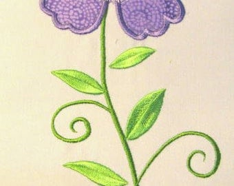 Vintage Flower 06 Machine Applique Embroidery Design - 5x7 & 6x8