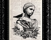 Garden Statue Lady With Bird - Vintage Dictionary Print Vintage Book Print Page Art Upcycled Vintage Book Art
