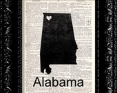 I Heart Alabama - State Map - Map Art Print Personalized - Vintage Dictionary Print Vintage Book Print Page Art  Vintage Book Art