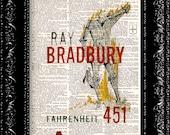 Fahrenheit 451- Ray Bradbury Book Cover - Vintage Dictionary Print Vintage Book Print Page Art Upcycled Vintage Book Art
