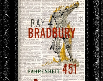 Fahrenheit 451- Ray Bradbury Book Cover - Vintage Dictionary Print Vintage Book Print Page Art Upcycled Vintage Book Art