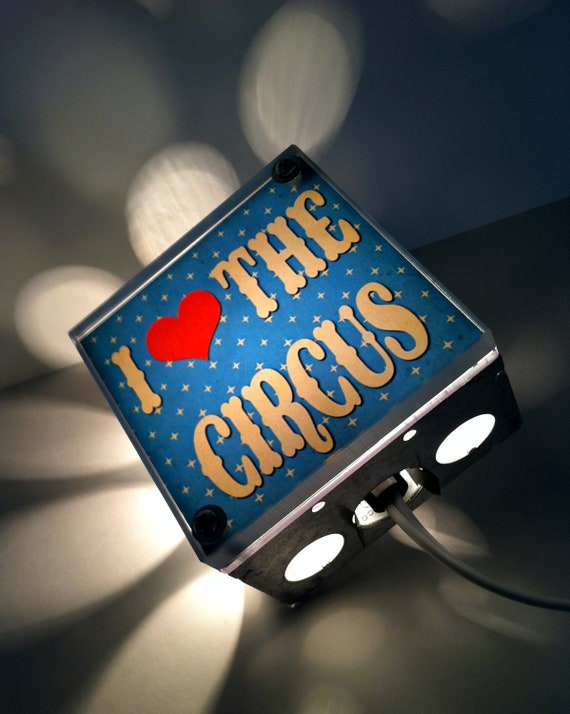 I Love The Circus, light Box, Repurposed Lamp, Night Light, hanging lamp, nursing light, nursery light