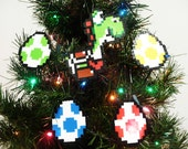 Yoshi and 4 Eggs Perler Bead Christmas Ornament Set (5 piece)