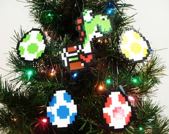 Yoshi and 4 Eggs Perler Bead Christmas Ornament Set (5 piece) - nintendo