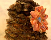 Brown, Orange,and Gold Ruffled Baby Hat, Newborn to 3 mos, Photo Prop, OOAK
