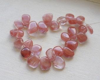 Cherry Quartz Freeform Teardrop Gemstone beads Jewelry supplies