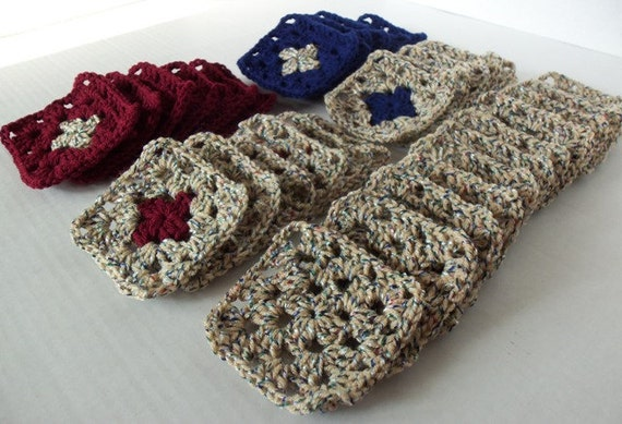 36 Granny Squares Lot - Buff Multi with Blue and Burgandy accents