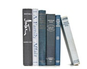 Vintage Gray Blue Shades 6 Book Collection Interior Design Vintage Book Decor - jaysworld