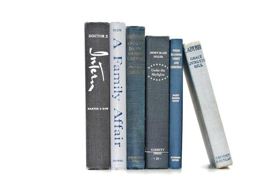 Vintage Gray Blue Shades 6 Book Collection Interior Design Vintage Book Decor