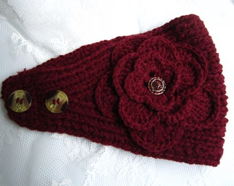 Dark red(ox blood color) knit headband, ear warmer with crochet flower and rhinestone button