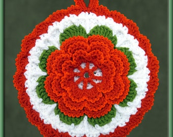 Crocheted Rust-colored Rose Potholder/Wall Art
