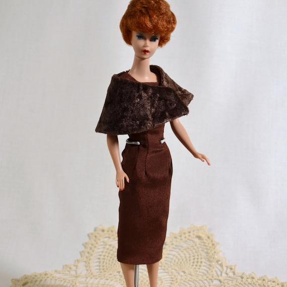 Retro Fifties Barbie Chocolate Brown Sheath Wiggle Dress and Stole Handmade