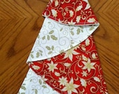 Red and Cream Poinsettia and Holly Christmas Napkin