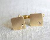 Personalized Mini Cufflinks - square brass hand stamped antique industrial inspired men's initial accessories