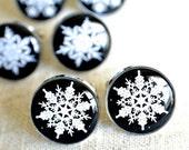 White snowflake cufflinks - Wintery whimsical inspired snowflake stainless steel keepsakes luxury men's accessories