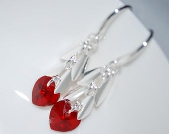 Swarovski Crystal Read Heart Earrings, Crystal Red Heart Earrings, Red Heart Dangle Earrings, Red Heart, Siam