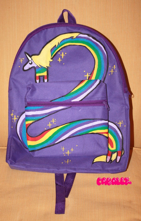 Lady Rainicorn Purple Backpack (Hand Painted)
