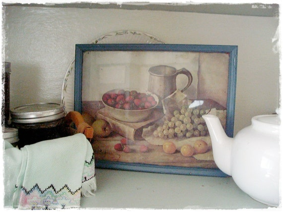 Reserved for NENE Vintage Chippy Kitchen Fruit Picture Shabby Cottage Farmhouse