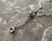 Belly Button Jewelry / Belly Button Ring / Barbell w/  Sterling Silver & Iolite - Unique Artisan Belly Jewelry