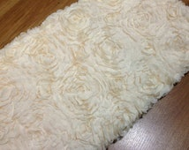 SALE One Yard Large Rose Lace Fabric, Ivory Lace, Floral Lace, Chiffon 3D Lace, Apparel Fabric Lace