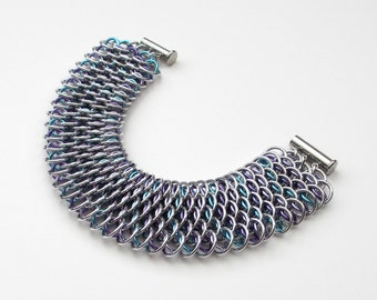 Chainmail Dragonscale bracelet, purple shades & turquoise