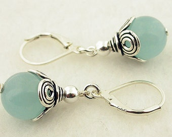 Aquamarine Jade Lever Back Sterling Silver Earrings 12