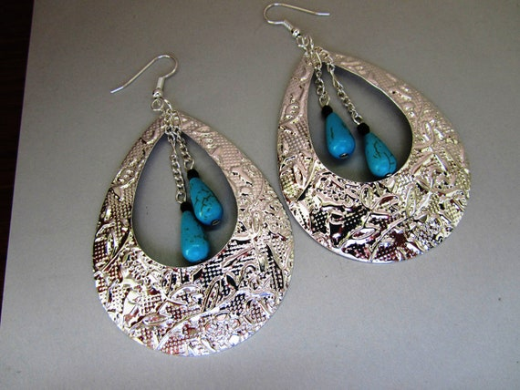 SALE - Blue Green Magnesite Teardrop with Fancy Teardrop  Hoop Earrings - No Coupon Required