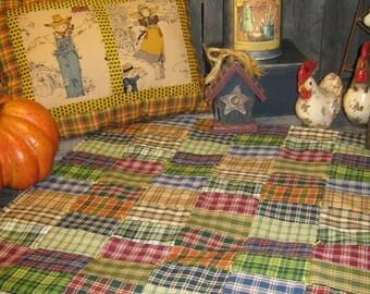 "Primitive OOAK Quilt Pieced  Artist Original Lg. Squared Rectangle Checkerboard HomeSpun Candle Mat  "" HomeSpun Prim  ""  Country Folk Runner"