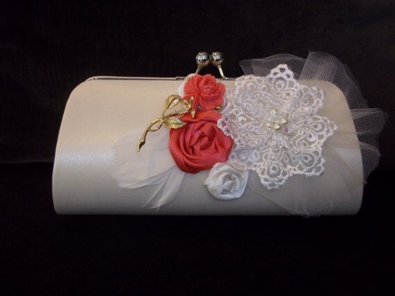 Bridal Clutch - Caitlin Wedding Clutch in Ivory and Coral - A Bijoux Bridal Chicago Signature Design