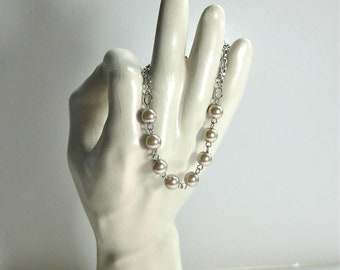 Ivory Pearls on Silver Chain Bracelet, bridal jewelry