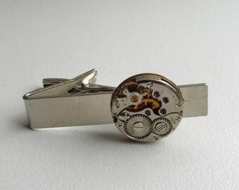 Steampunk tie clip Mens steampunk Steampunk tie pin tie bar Watch gear tie clip Gift for Him Steampunk accessories Mens gift ideas