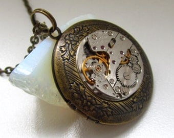 Steampunk Jewelry, Steampunk round locket necklace with vintage watch  movement. Gift under 30 Dollars