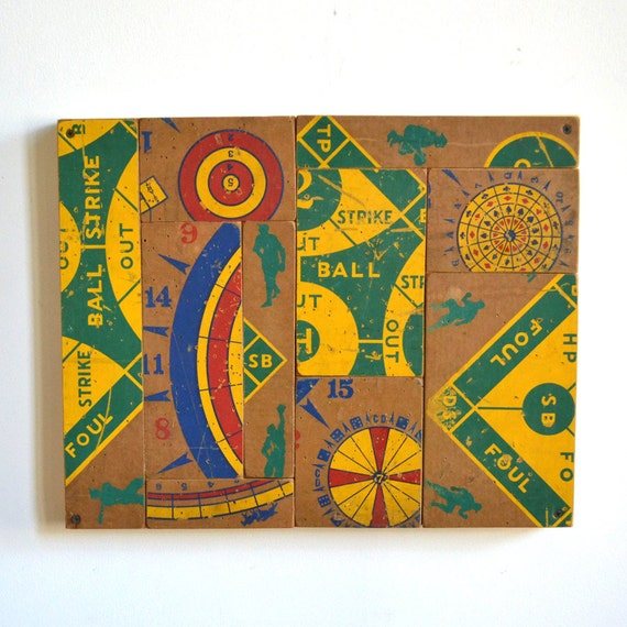 vintage baseball dart boards art mosaic original composition by Elizabeth Rosen