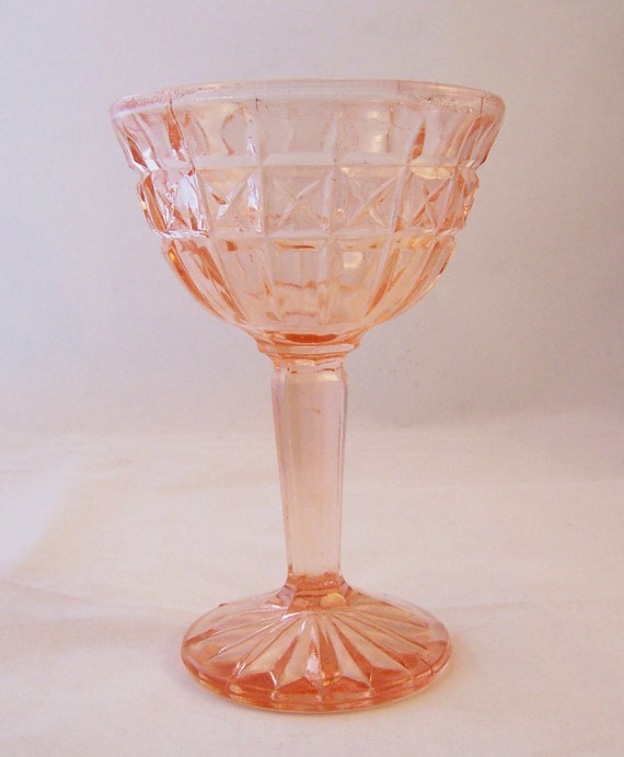 Vintage Pink Glass Ice Cream/Sundae Dish, 1950s, 1960s