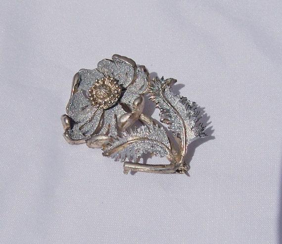 Vintage Hollywood Floral Silver Tone Swirl Brooch, Vintage Jewelry, UK Seller