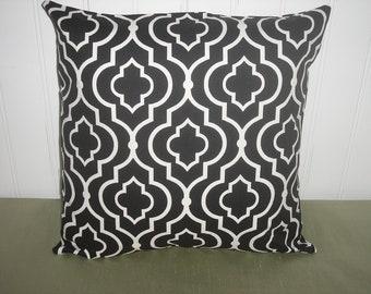 THROW PILLOW sham / cover 18x18 black and white geometric quatrafoil print