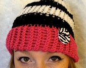 Bright Pink Black and White with a Zebra Print Button Beanie Knit Hat
