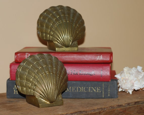 Vintage Clam Seashell Solid Brass Bookends Pair