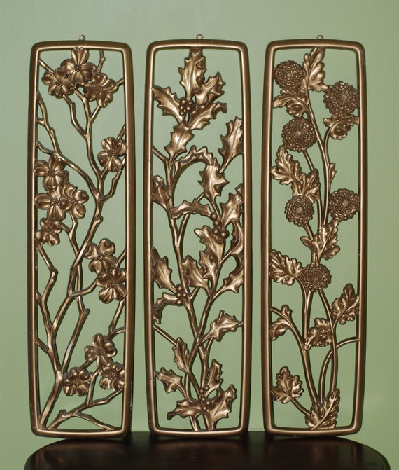 Vintage Mid Century Hollywood Regency Large Gold Gilted Floral Wall Panels.....3 Panels in Gold
