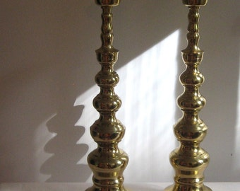 Pair of Vintage Tall Candle Sticks Brass