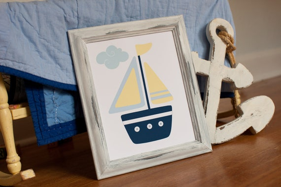 Items Similar To Ocean Bedding Art, Nautical Nursery Boats