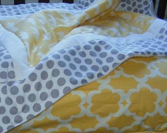 Baby Bedding Crib Stroller Quilt Blanket cotton organic fleece Grey Yellow Elephants