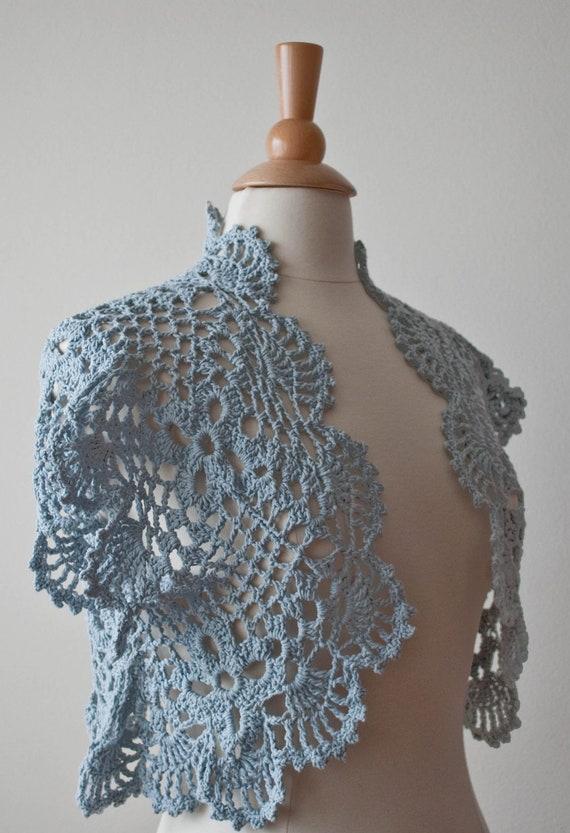 Blue-gray crochet shrug bolero