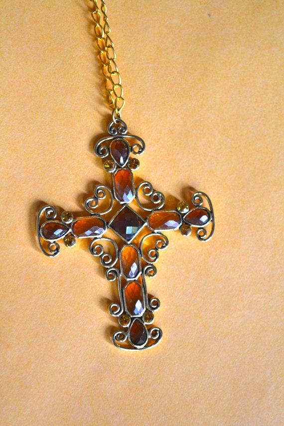 Art Deco Cross PENDANT, Citrine Color Rhinestones, Gold Tone, Victorian Style Cross